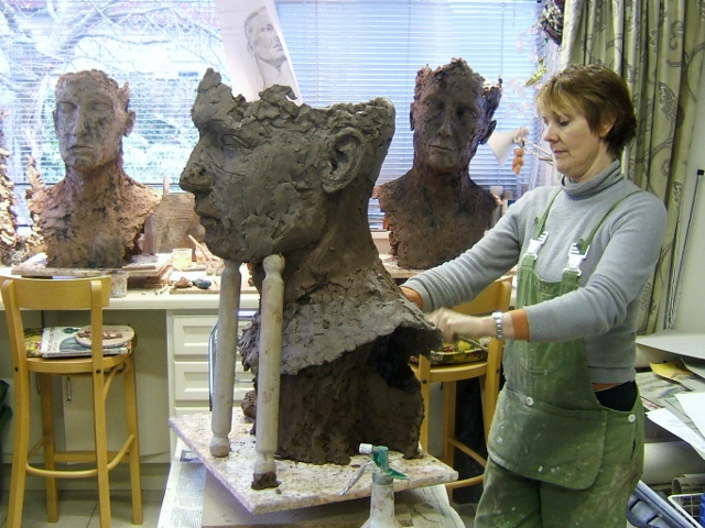Lesley at work in her studio